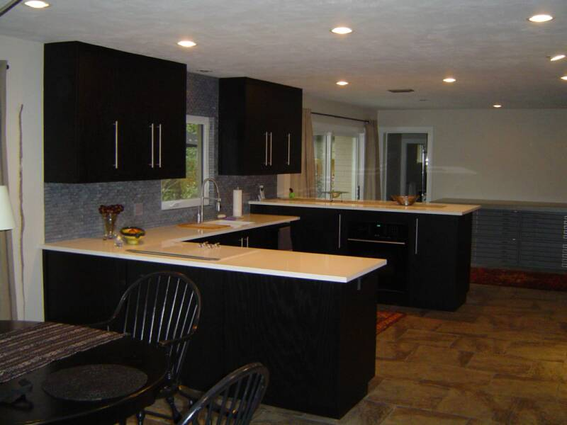 Ebony stained oak kitchen cabinets for Black stained kitchen cabinets